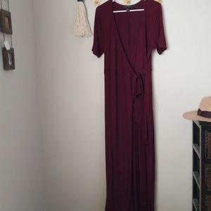 Wine maxi wrap dress